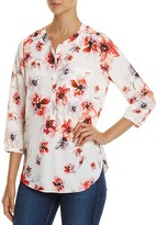 NYDJ Petites Watercolor Floral Pleat Back Blouse