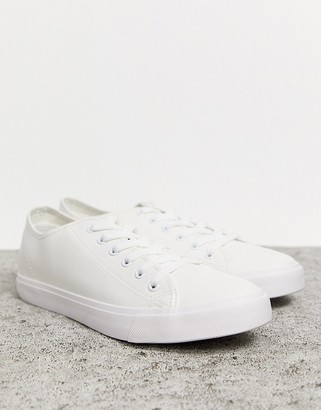 French Connection faux leather lace up plimsoll-White