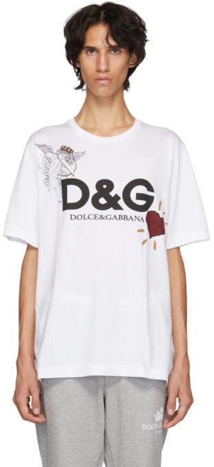 Dolce & Gabbana White Cupid Logo T-Shirt
