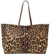 Valentino Garavani Rockstud Leopard-Print Canvas & Leather Tote