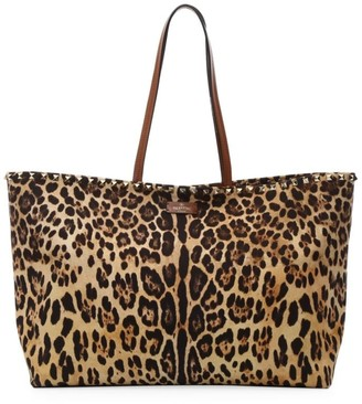 Valentino Rockstud Leopard-Print Canvas & Leather Tote