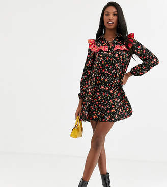 Asos Tall DESIGN Tall long sleeve shirt smock dress in mixed print-Multi
