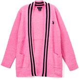 U.S. Polo Assn. Light Pink & Black Rib-Stripe Open Cardigan - Toddler & Girls