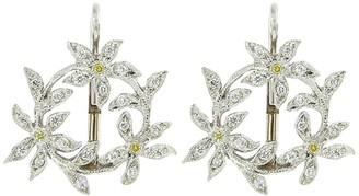 Cathy Waterman Circle of Diamond Flowers Platinum Earrings
