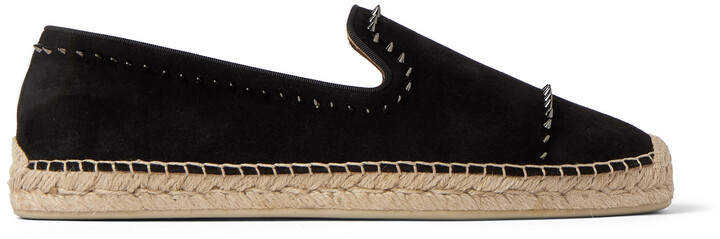 Christian Louboutin Spiked Grosgrain-Trimmed Suede Espadrilles
