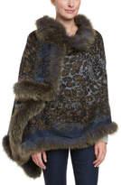 La Fiorentina Women's Navy & Olive Trimmed Wool Wrap