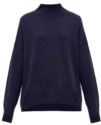 Allude Oversized High-neck Cashmere Sweater - Womens - Navy