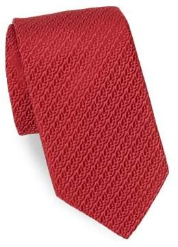 Charvet Red Embroidered Silk Tie