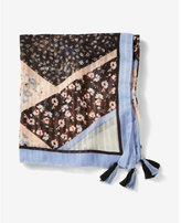 Express tassel trim floral scarf