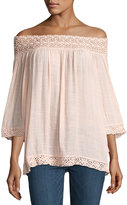 Neiman Marcus Lace-Trim Peasant Blouse, Blush