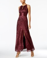 Thumbnail for your product : R & M Richards Metallic Knit Keyhole Halter Gown