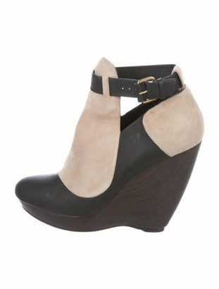 Balenciaga Suede Wedge Boots Beige