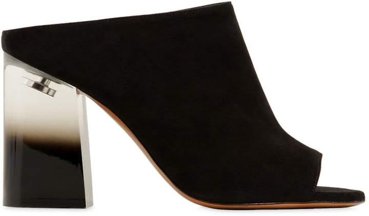 Givenchy 90mm Paris Suede Mules W/ Plexi Heel