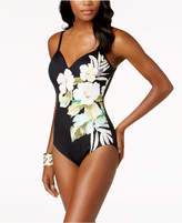 Swim Solutions Floral Sweetheart Allover Slimming One-Piece Swimsuit, Created for Macy's