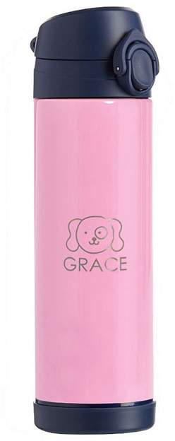 Pottery Barn Kids Large Insulated Water Bottle, Fairfax Solid Pink/Navy Trim