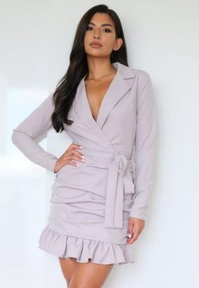 Missguided Gray Ruched Hem Wrap Blazer Dress
