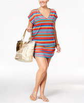 Anne Cole Plus Size Striped Mesh Cover-Up Tunic