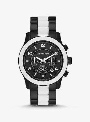 Michael Kors Oversized Runway Black-Tone and Silicone Watch - White