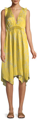 Halston Ruffle-Trim V-Neck Floral-Print Dress