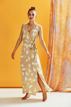 Nümph Kyla Wrap Front Tie Maxi Dress Sesame - 34