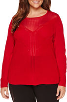WORTHINGTON Worthington Long Sleeve Illusion Pullover Sweater - Plus