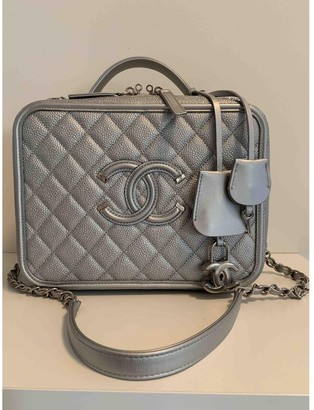 Chanel Vanity Silver Leather Handbags