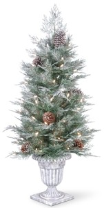 National Tree Company 4' Feel Real Frosted Mountain Spruce Entrance Tree with Cones in Silver Brushed Urn & 100 Clear Lights