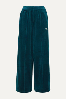 adidas Striped Cotton-blend Velvet Track Pants - Teal
