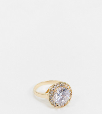 ASOS DESIGN Curve ring with large crystal stone in gold tone