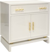 Worlds Away Two Door, One Drawer White Lacquer Cabinet