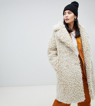 Monki double breasted teddy coat in off white-Beige