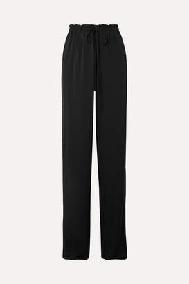 The Row Jr Stretch-silk Georgette Wide-leg Pants - Black
