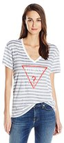 GUESS Women's Short Sleeve Deep V-Neck Easy Logo T-Shirt
