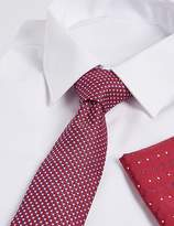 Marks and Spencer Pure Silk Textued Tie & Pocket Square Set