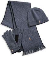 Polo Ralph Lauren Three-Piece Merino Wool Scarf, Beanie & Gloves Set