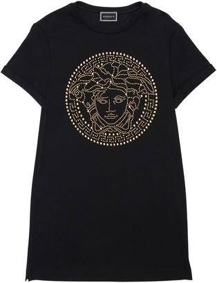 Versace Embellished Medusa Cotton Jersey Dress