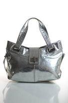 Kooba Silver Silver Metallic Leather Turn Lock Large Shoulder Handbag