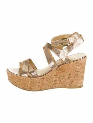 Stuart Weitzman Leather Glitter Accents Sandals Gold