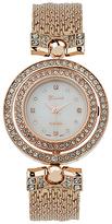 Geneva Platinum Rose Gold Crystal Mesh-Band Watch