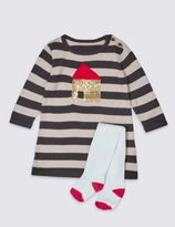 Marks and Spencer 2 Piece Knitted House Dress with Tights