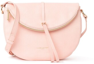 Lancaster Paris Leather Zipper Flap Crossbody Bag
