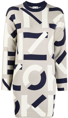 Kenzo Intarsia-Logo Long-Sleeve Dress