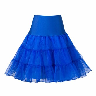 Petalum Women 50s Petticoat Skirts Vintage Mini Dress Tutu Crinoline Underskirt Half Slip Beige
