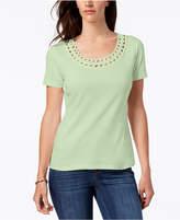 Karen Scott Cotton Swirl-Appliqué Top, Created for Macy's