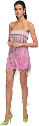 ATTICO Embellished Fringe Wool Mini Dress