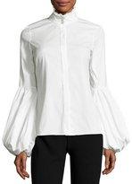 Caroline Constas Jacqueline Balloon-Sleeve Shirt, White