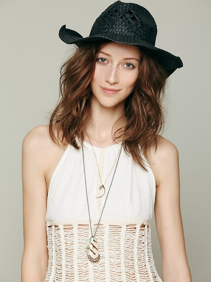 Free People Black Straw Cowboy Hat