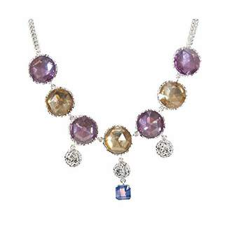 Marc Jacobs Womens Pink Paste and Prints Crystal Drop Toggle Bib Necklace