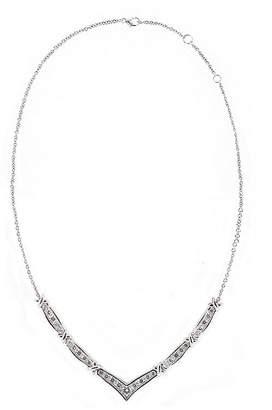 FINE JEWELRY DiamonArt Cubic Zirconia Sterling Silver Chevron X Necklace