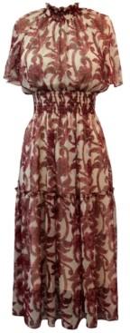 Taylor Smocked-Trim Chiffon Midi Dress